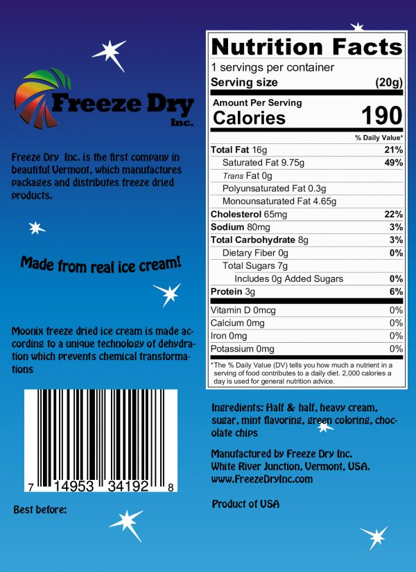 Nutrition Facts for Moonix 150 Freeze Dried Ice Cream Mint