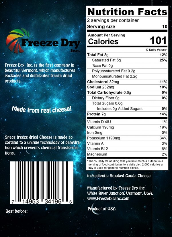 Nutrition facts for space cheese gouda